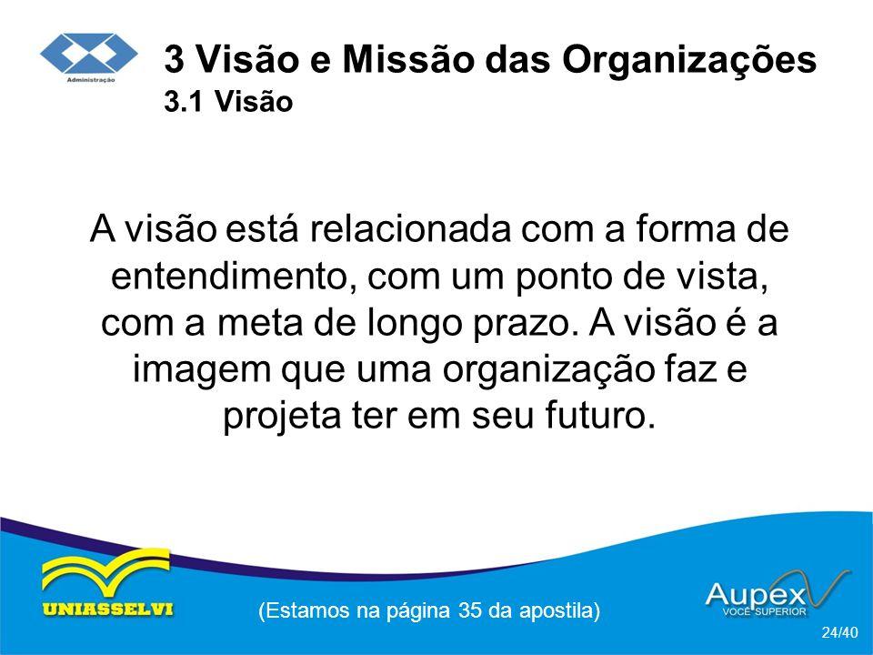 3 Visão e Missão das Organizações 3.1 Visão