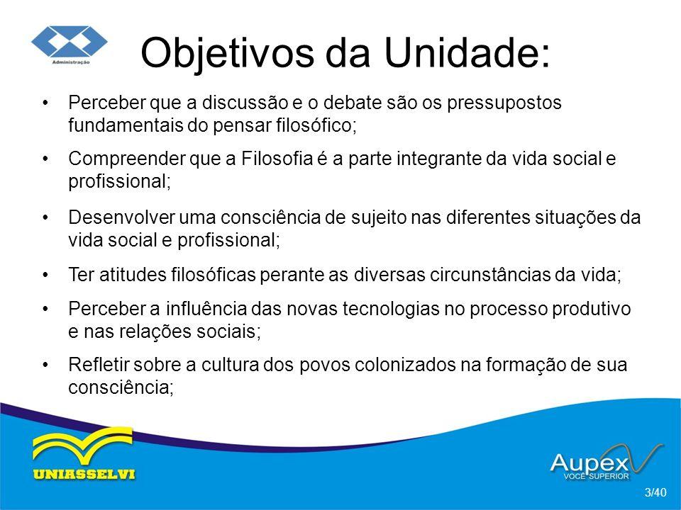 Objetivos da Unidade: Perceber que a discussão e o debate são os pressupostos fundamentais do pensar filosófico;