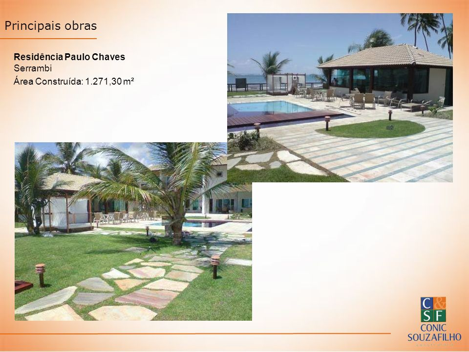 Principais obras Residência Paulo Chaves Serrambi