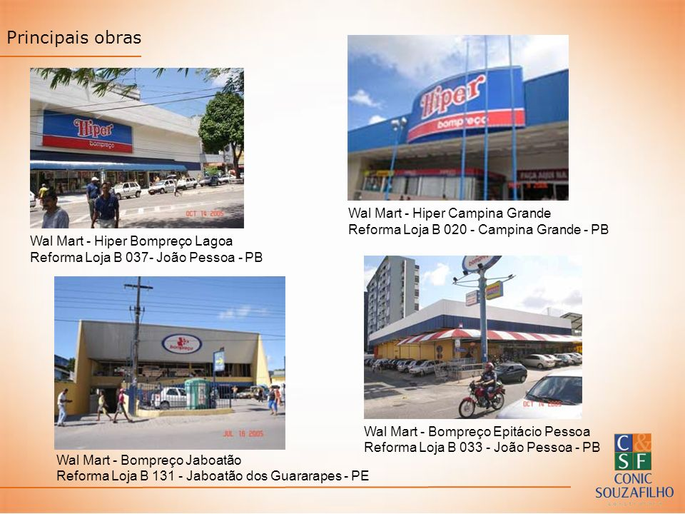 Principais obras Wal Mart - Hiper Campina Grande