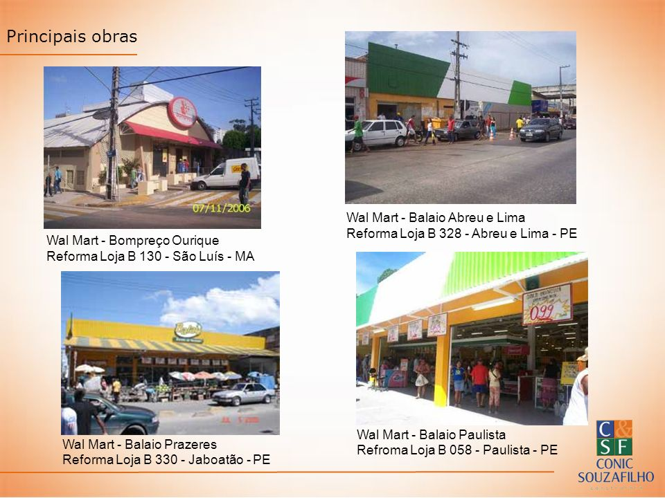 Principais obras Wal Mart - Balaio Abreu e Lima