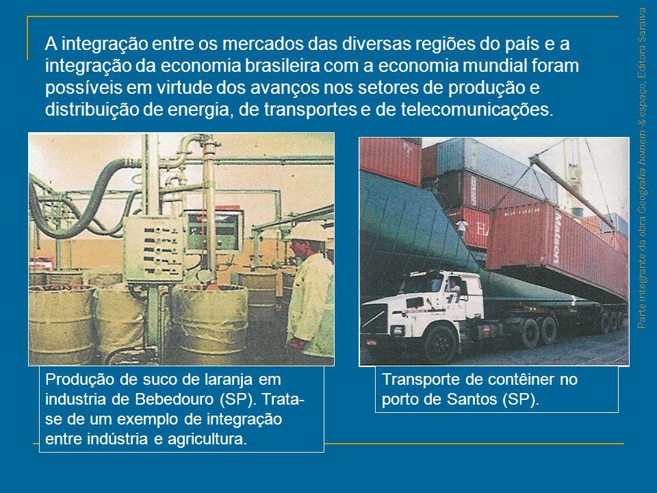A integração entre os mercados das diversas regiões do país e a integração da economia brasileira com a economia mundial foram possíveis em virtude dos avanços nos setores de produção e distribuição de energia, de transportes e de telecomunicações.