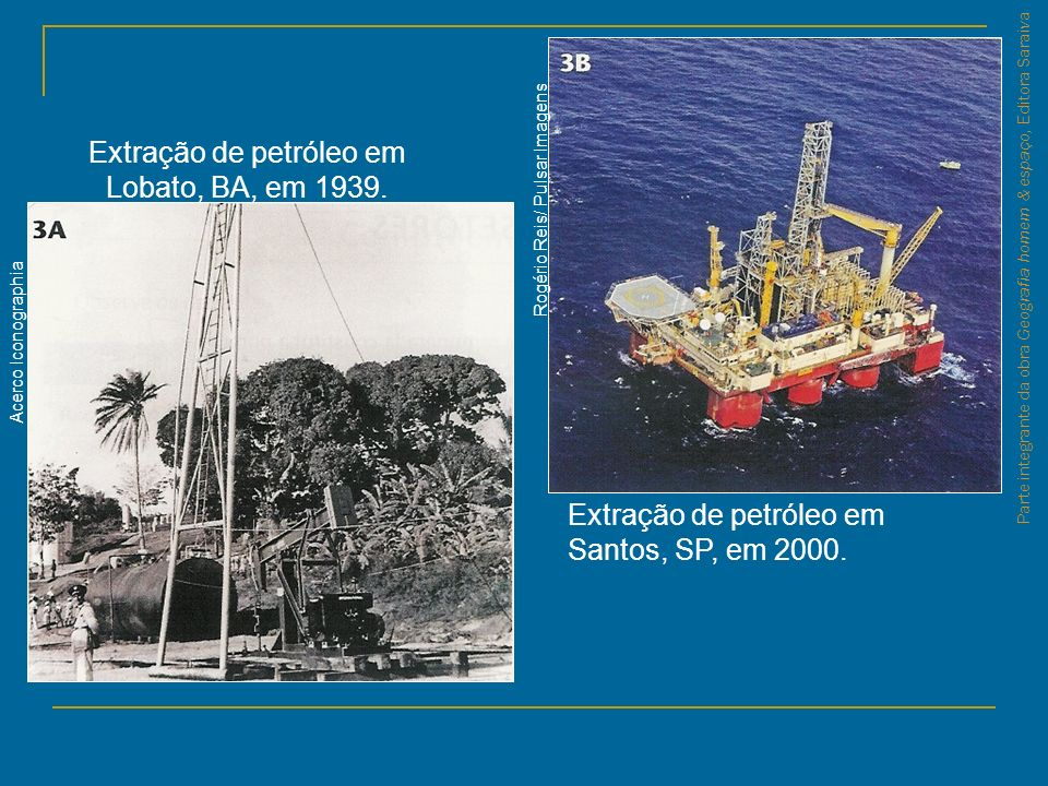 Extração de petróleo em Lobato, BA, em 1939.