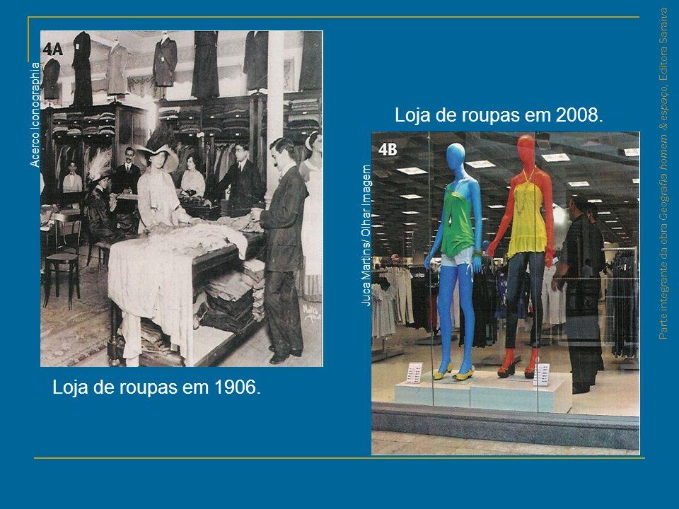 Loja de roupas em 2008. Loja de roupas em 1906. Acerco Iconographia