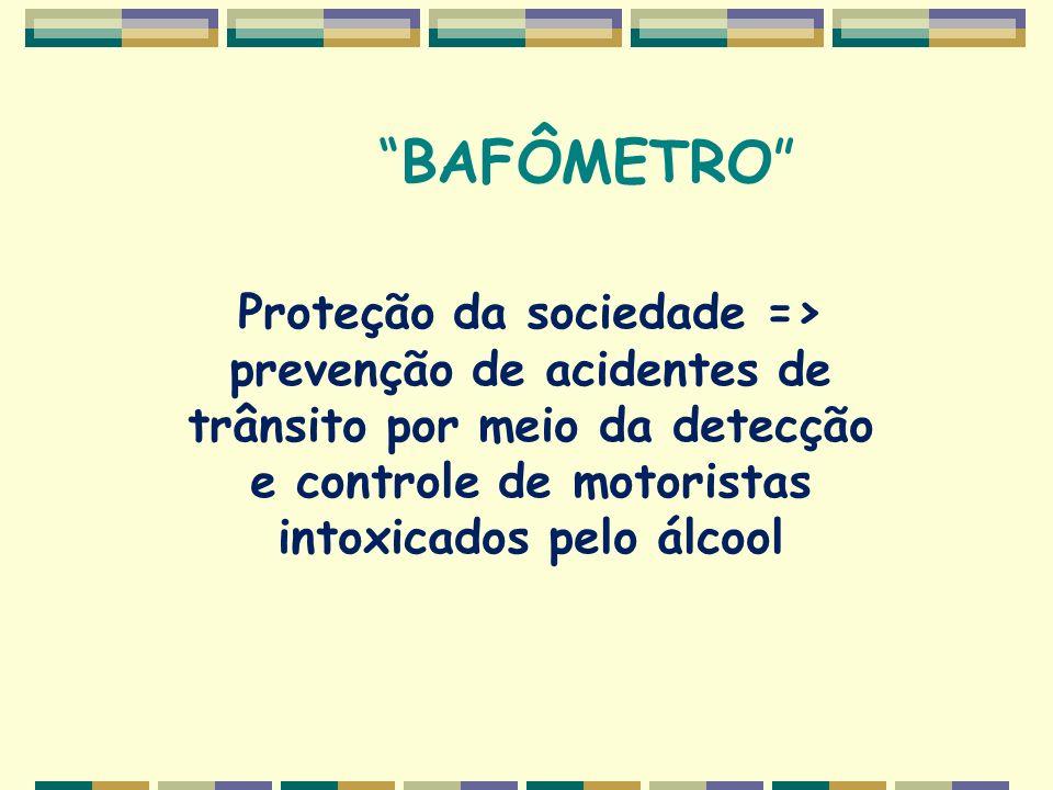 BAFÔMETRO Proteção da sociedade => prevenção de acidentes de trânsito por meio da detecção e controle de motoristas intoxicados pelo álcool.