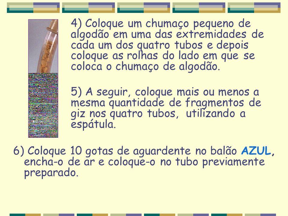 4) Coloque um chumaço pequeno de. algodão em uma das extremidades de