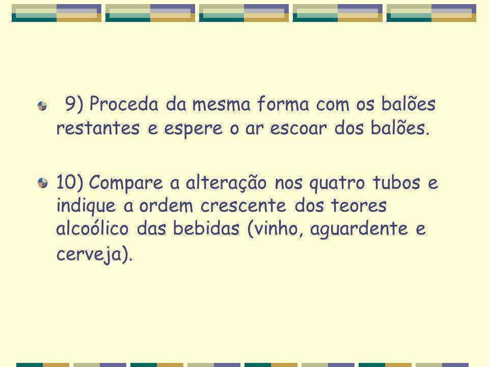 9) Proceda da mesma forma com os balões restantes e espere o ar escoar dos balões.