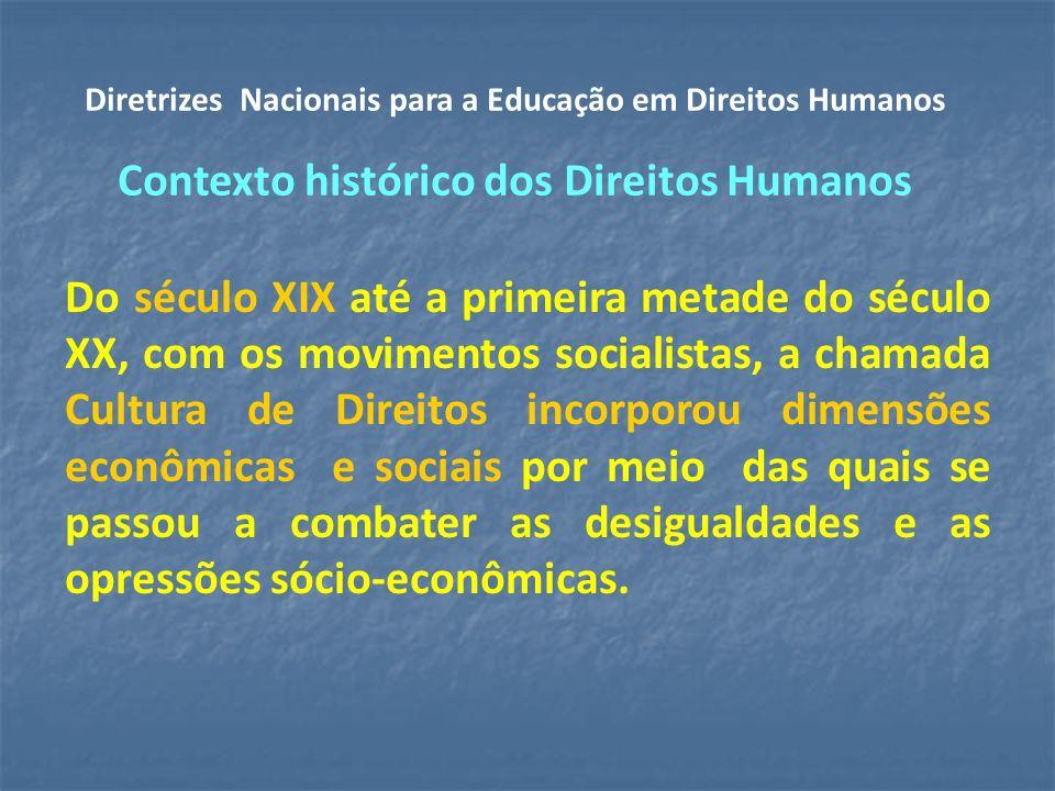 Diretrizes Nacionais para a Educação em Direitos Humanos Contexto histórico dos Direitos Humanos