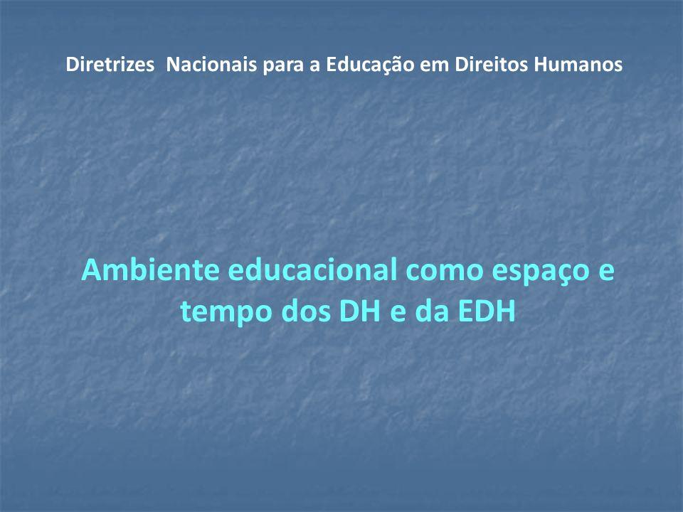 Ambiente educacional como espaço e tempo dos DH e da EDH