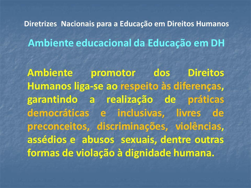 Diretrizes Nacionais para a Educação em Direitos Humanos Ambiente educacional da Educação em DH
