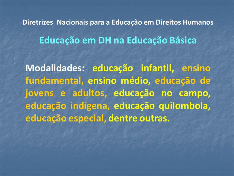 Diretrizes Nacionais para a Educação em Direitos Humanos Educação em DH na Educação Básica