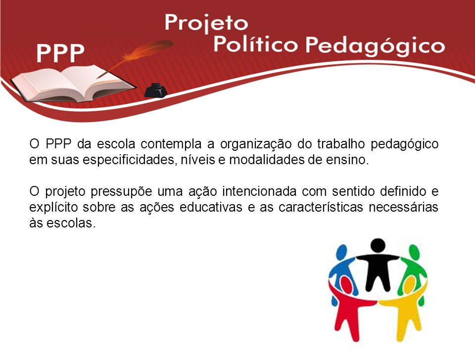 O PPP da escola contempla a organização do trabalho pedagógico em suas especificidades, níveis e modalidades de ensino.