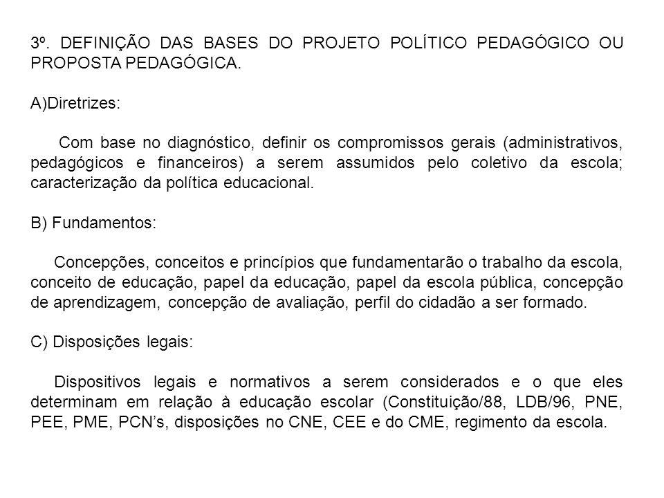 3º. DEFINIÇÃO DAS BASES DO PROJETO POLÍTICO PEDAGÓGICO OU PROPOSTA PEDAGÓGICA.