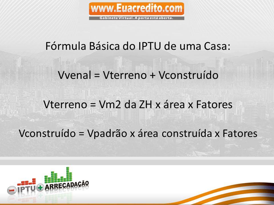 Fórmula Básica do IPTU de uma Casa: Vvenal = Vterreno + Vconstruído