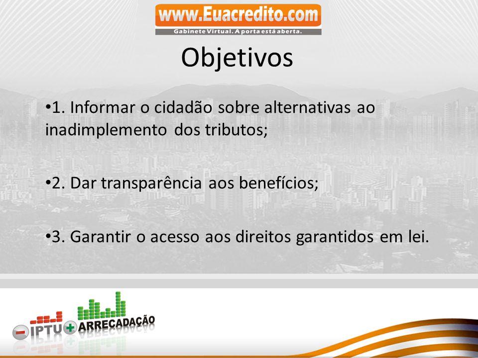 Objetivos 1. Informar o cidadão sobre alternativas ao inadimplemento dos tributos; 2. Dar transparência aos benefícios;