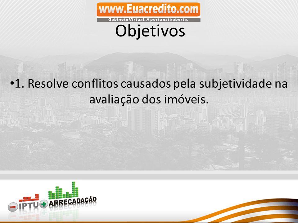 Objetivos 1. Resolve conflitos causados pela subjetividade na avaliação dos imóveis.