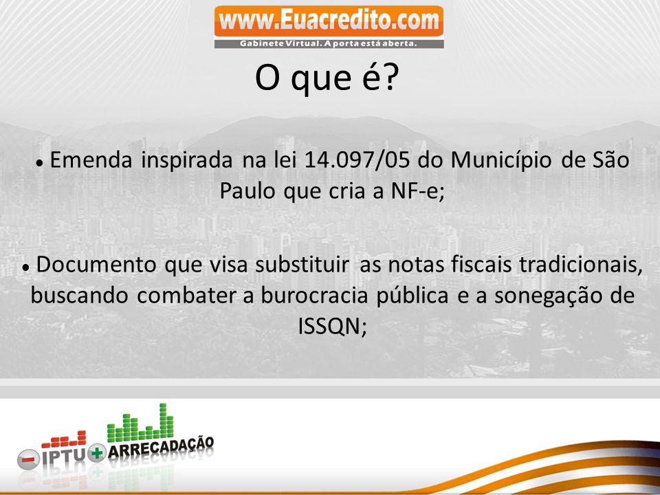 O que é Emenda inspirada na lei 14.097/05 do Município de São Paulo que cria a NF-e;