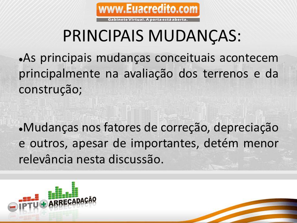 PRINCIPAIS MUDANÇAS: As principais mudanças conceituais acontecem principalmente na avaliação dos terrenos e da construção;