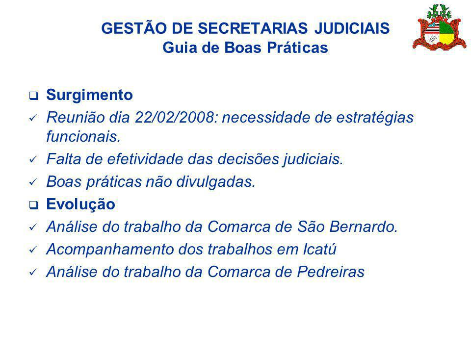 GESTÃO DE SECRETARIAS JUDICIAIS Guia de Boas Práticas