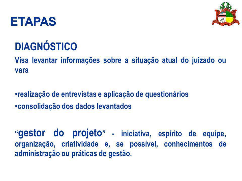 ETAPAS DIAGNÓSTICO. Visa levantar informações sobre a situação atual do juizado ou vara. realização de entrevistas e aplicação de questionários.
