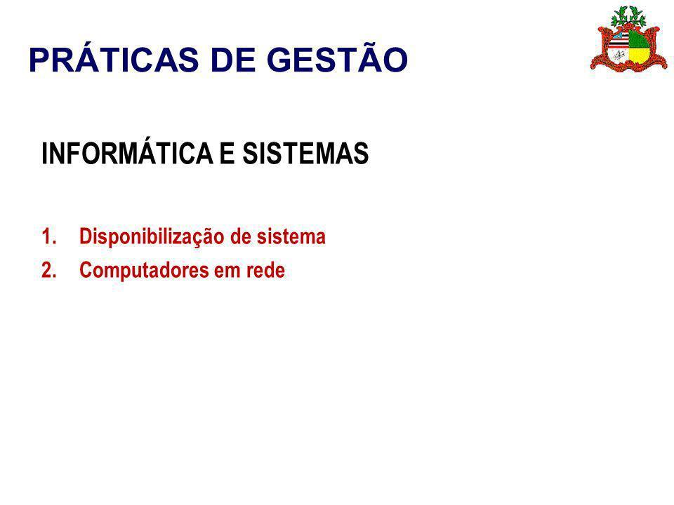 PRÁTICAS DE GESTÃO INFORMÁTICA E SISTEMAS Disponibilização de sistema