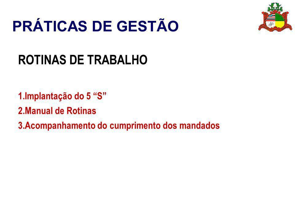 PRÁTICAS DE GESTÃO ROTINAS DE TRABALHO Implantação do 5 S