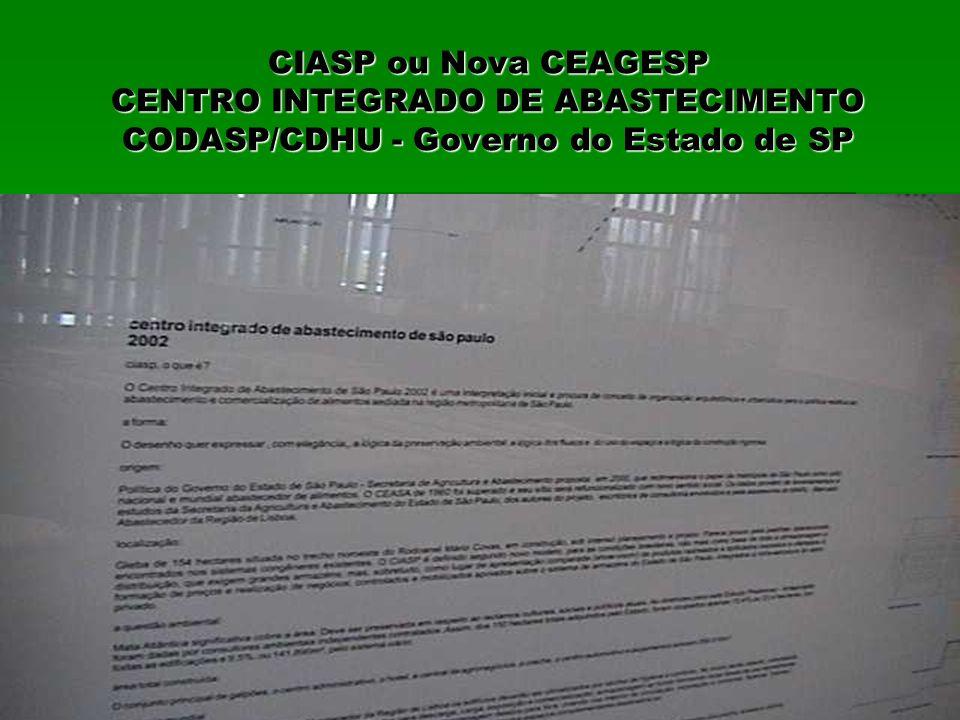 CIASP ou Nova CEAGESP CENTRO INTEGRADO DE ABASTECIMENTO CODASP/CDHU - Governo do Estado de SP