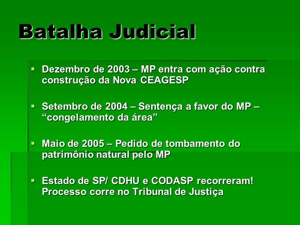 Batalha Judicial Dezembro de 2003 – MP entra com ação contra construção da Nova CEAGESP.