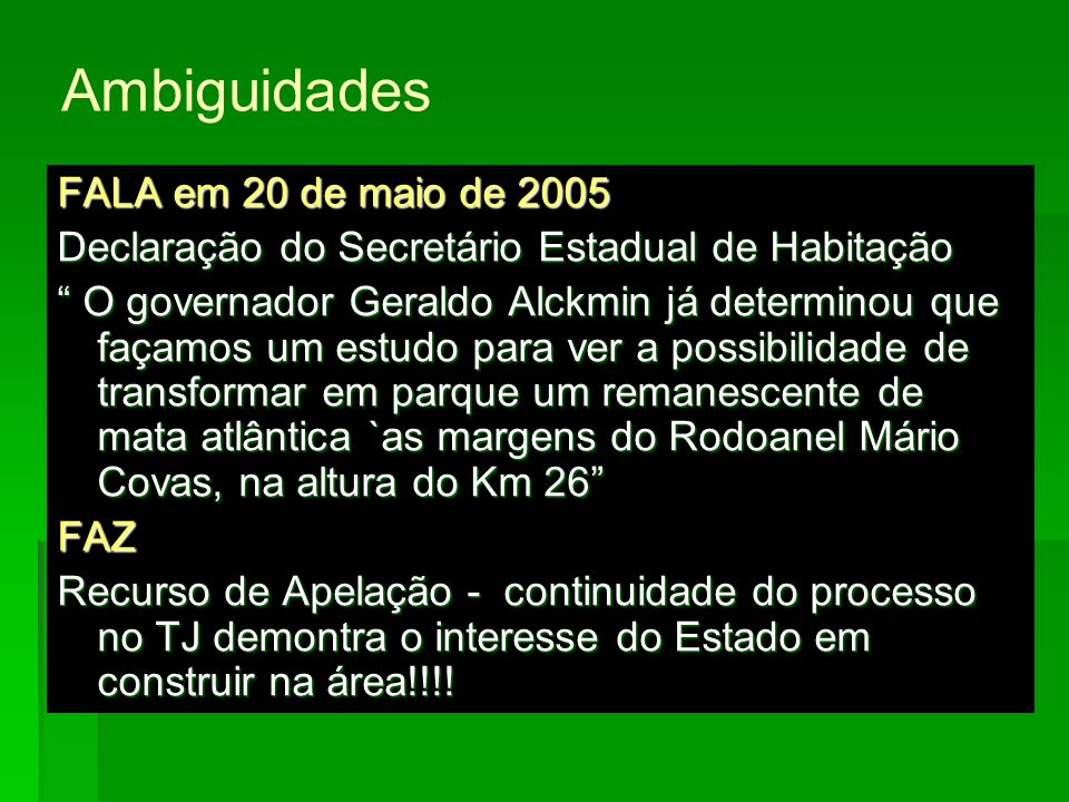 Ambiguidades FALA em 20 de maio de 2005