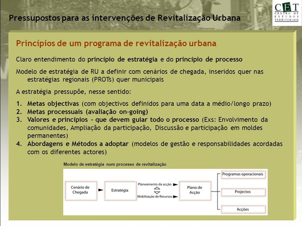 Pressupostos para as intervenções de Revitalização Urbana