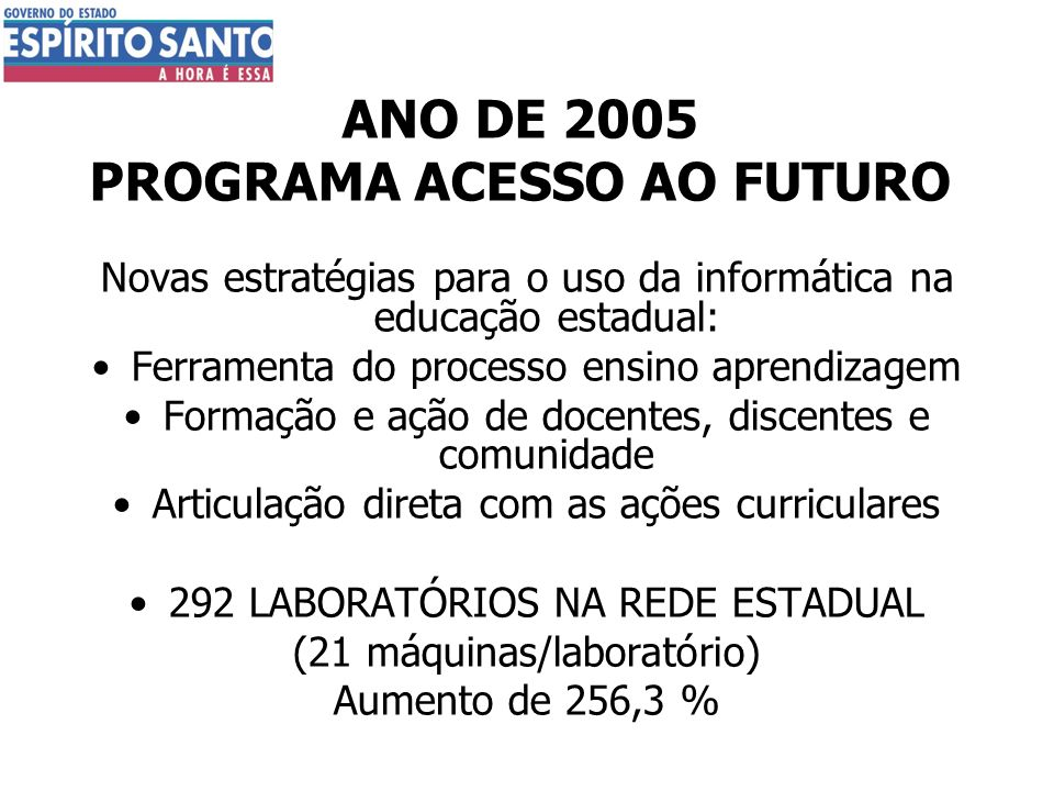 ANO DE 2005 PROGRAMA ACESSO AO FUTURO