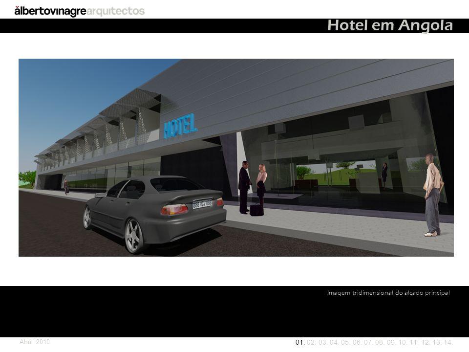Hotel em Angola Imagem tridimensional do alçado principal Abril 2010