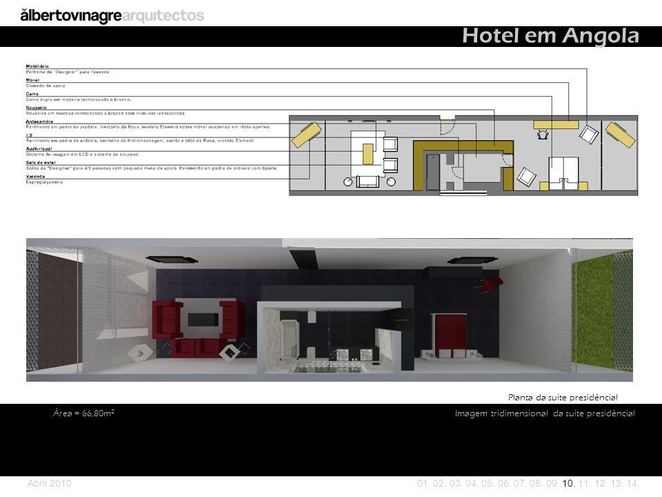 Hotel em Angola Planta da suite presidêncial Área = 66,80m2