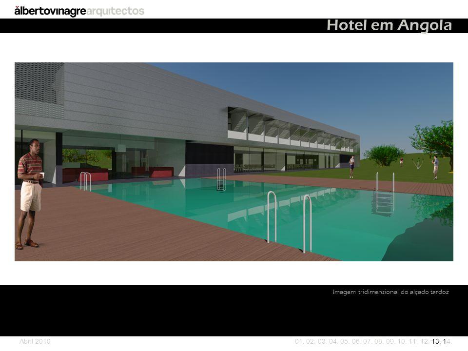 Hotel em Angola Imagem tridimensional do alçado tardoz Abril 2010