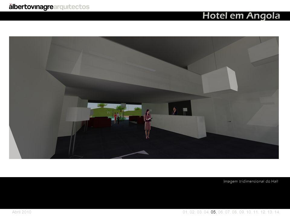 Hotel em Angola Imagem tridimensional do Hall Abril 2010
