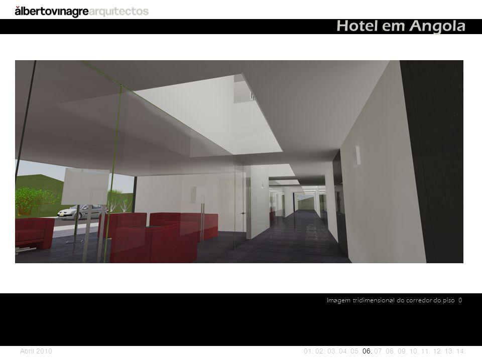 Hotel em Angola Imagem tridimensional do corredor do piso 0 Abril 2010