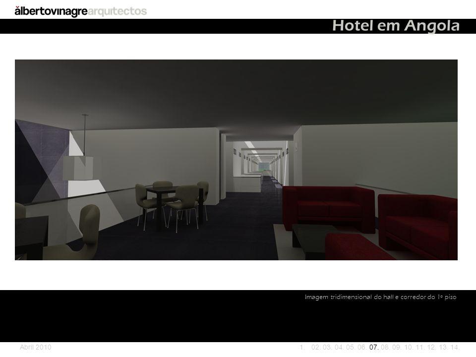 Hotel em Angola Imagem tridimensional do hall e corredor do 1º piso
