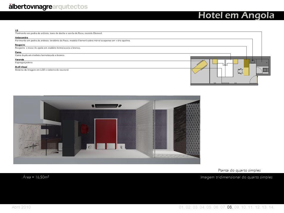 Hotel em Angola Planta do quarto simples Área = 16,50m2