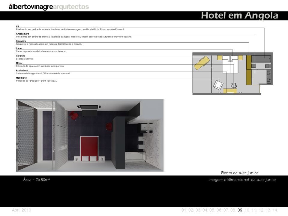 Hotel em Angola Planta da suite junior Área = 26,50m2