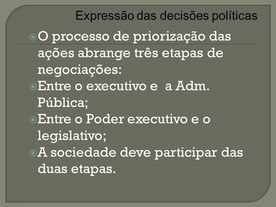 Expressão das decisões políticas