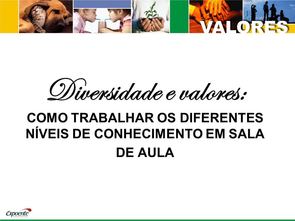 Diversidade e valores: COMO TRABALHAR OS DIFERENTES NÍVEIS DE CONHECIMENTO EM SALA DE AULA
