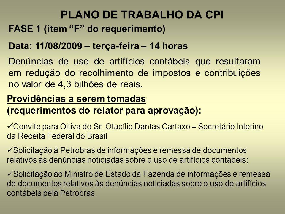 PLANO DE TRABALHO DA CPI
