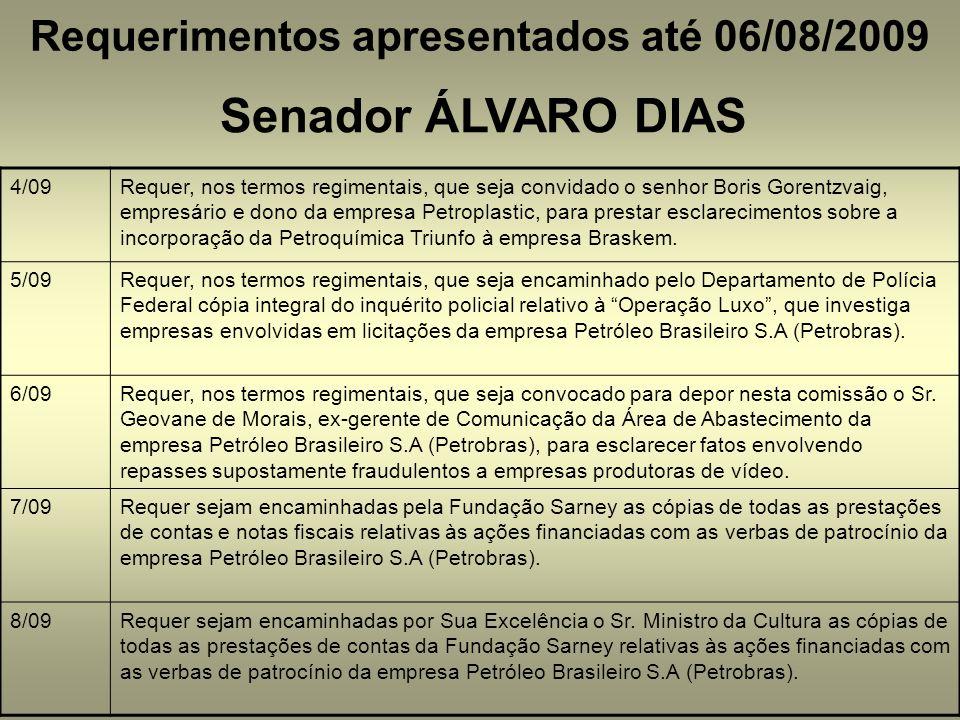 Requerimentos apresentados até 06/08/2009
