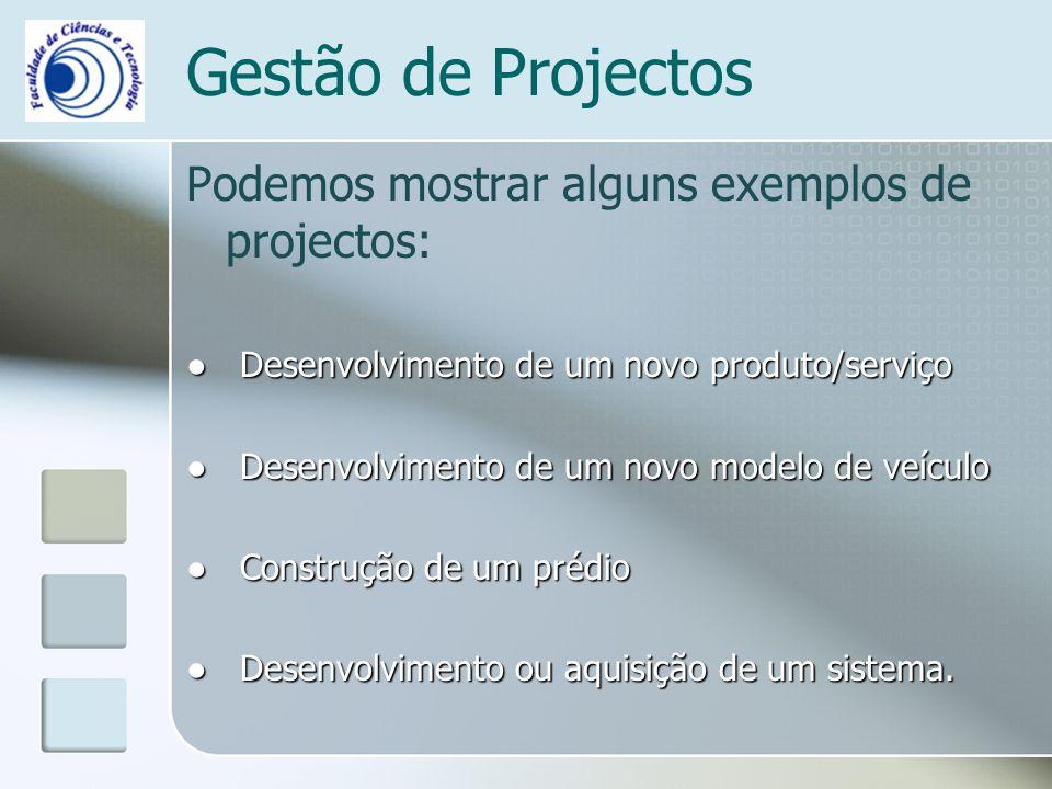 Gestão de Projectos Podemos mostrar alguns exemplos de projectos: