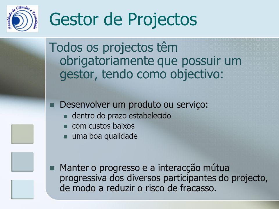 Gestor de Projectos Todos os projectos têm obrigatoriamente que possuir um gestor, tendo como objectivo: