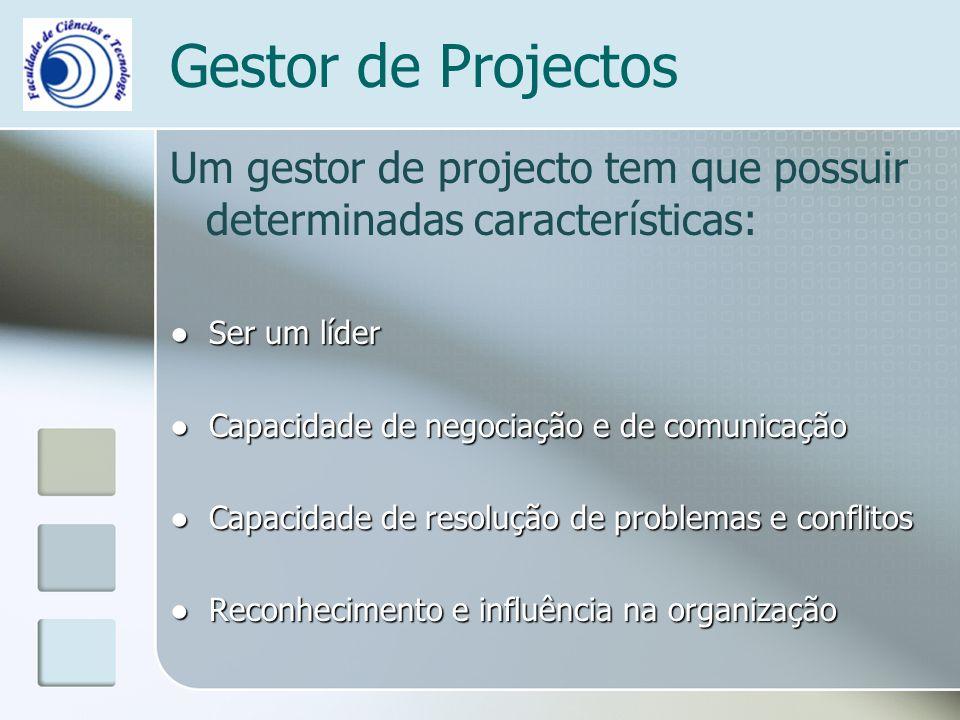 Gestor de Projectos Um gestor de projecto tem que possuir determinadas características: ● Ser um líder.