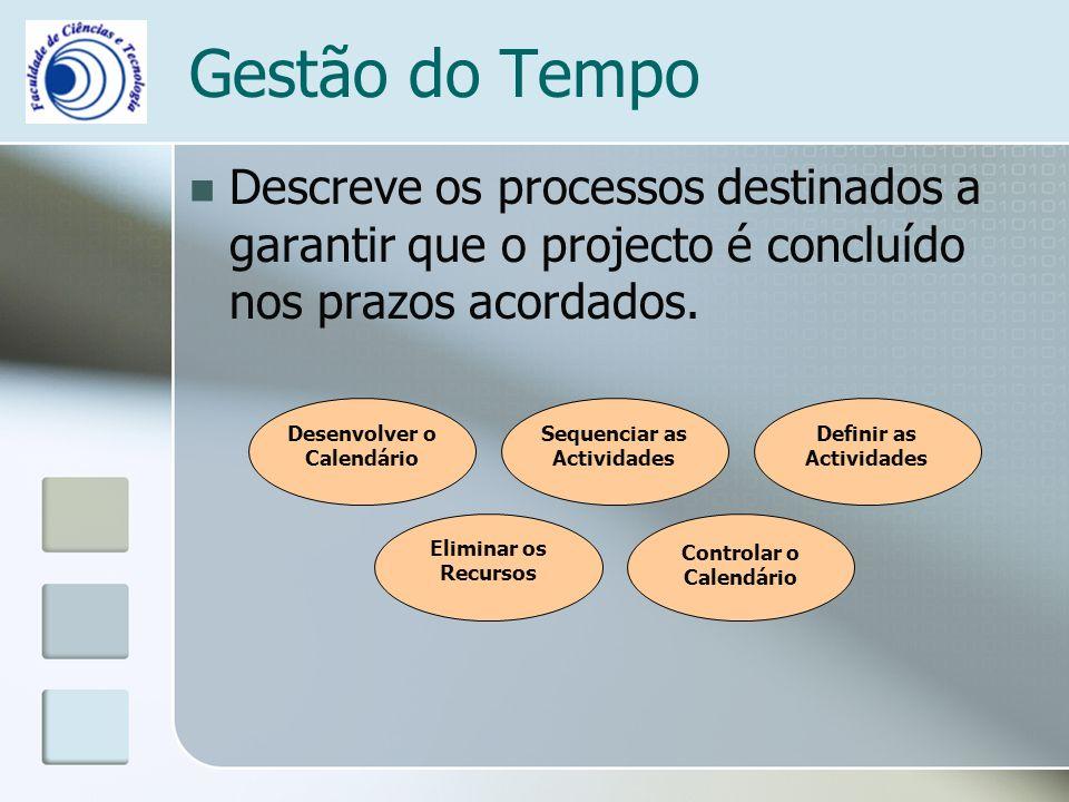Gestão do Tempo Descreve os processos destinados a garantir que o projecto é concluído nos prazos acordados.