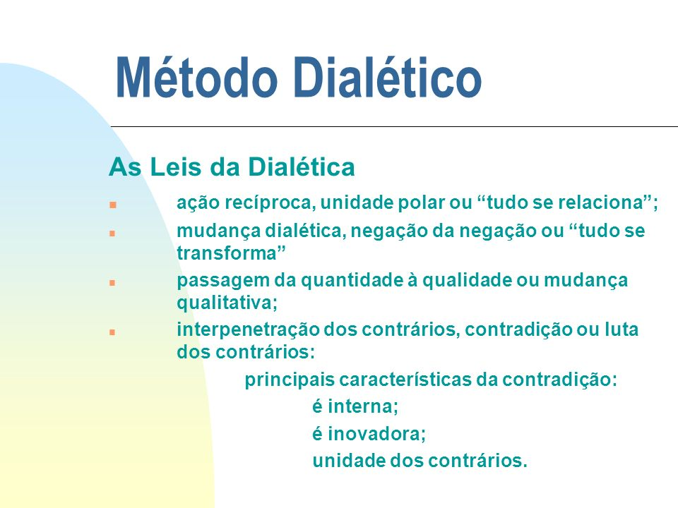 Método Dialético As Leis da Dialética
