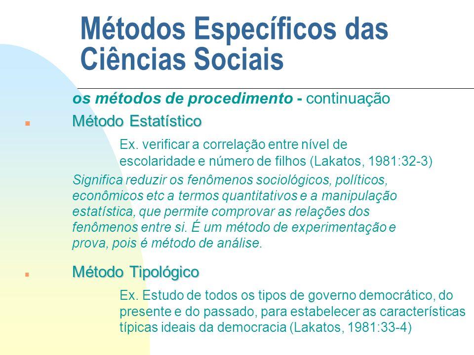 Métodos Específicos das Ciências Sociais