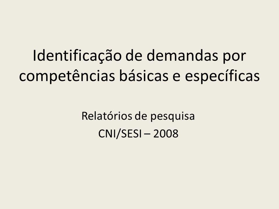 Identificação de demandas por competências básicas e específicas